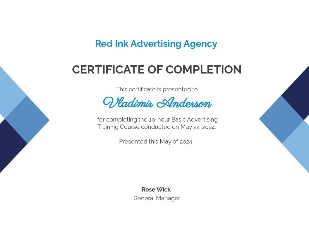 Course Certificate Template