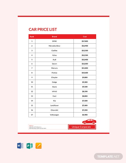 Free Car Price List Template