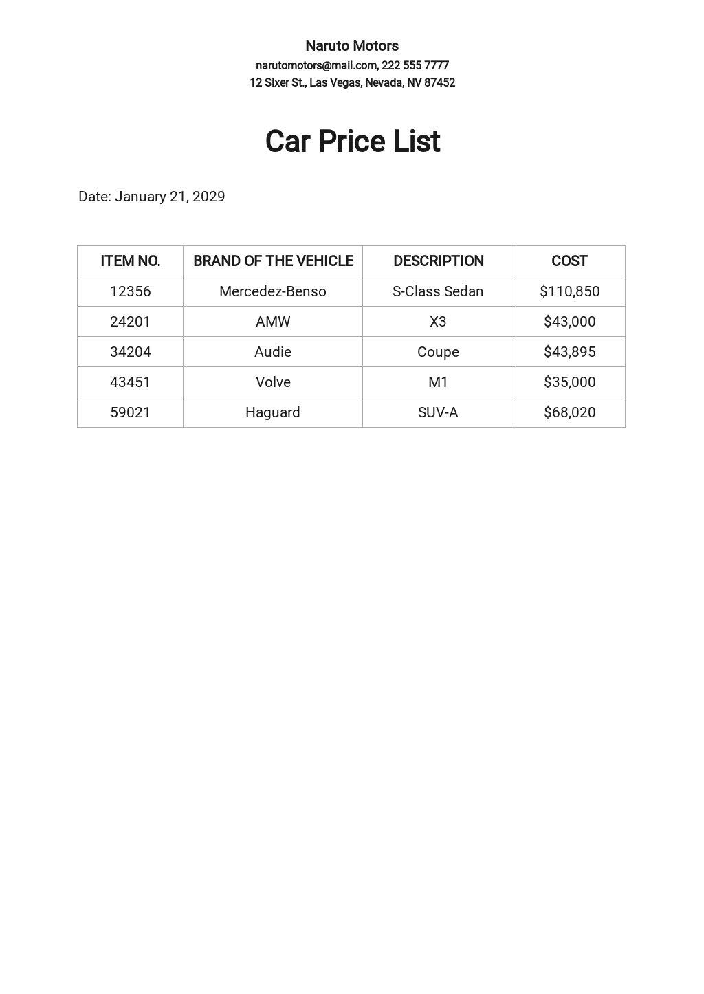 Free Car Price List Template.jpe