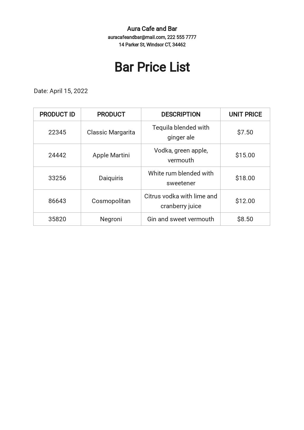 Bar Price List Template.jpe