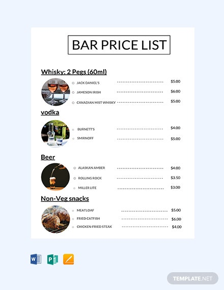 Free Bar Price List Template