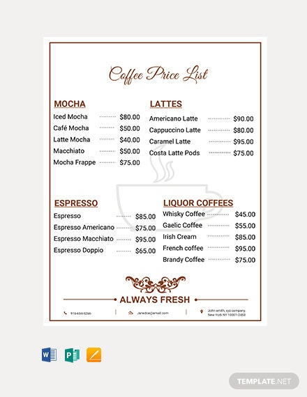 free coffee shop price list in microsoft word  publisher