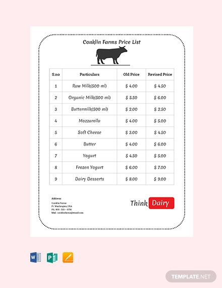 Free Dairy Farm Price List