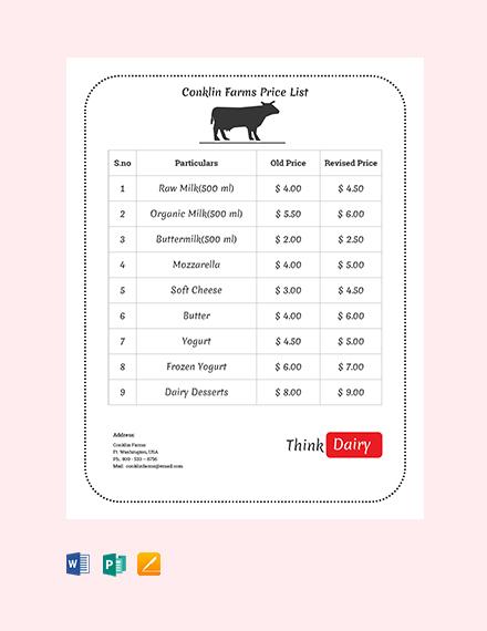 Free Dairy Farm Price List