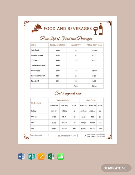 Free Food & Beverage Price List
