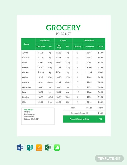 Free Grocery Shop Price List
