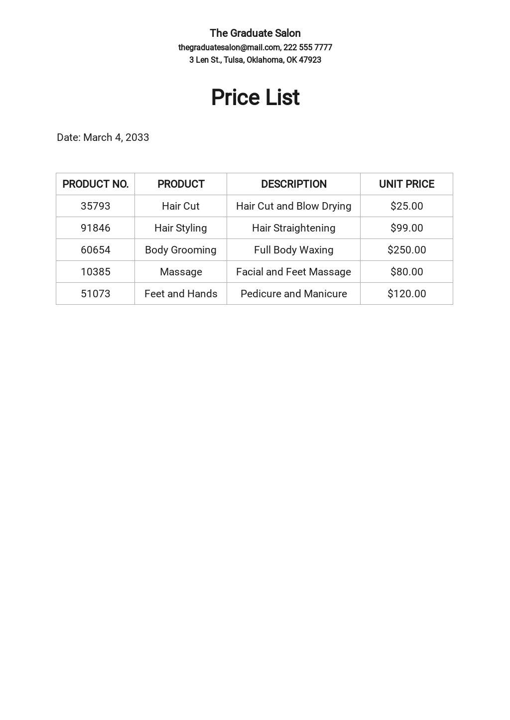 Free Salon Price List Template.jpe