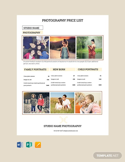 free photography studio price list in microsoft word