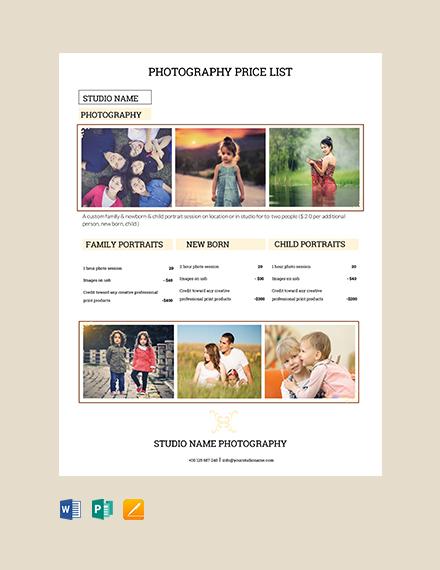 Free Photography Studio Price List