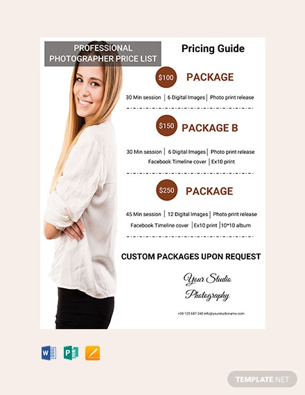 Free Professional Photographer Price List