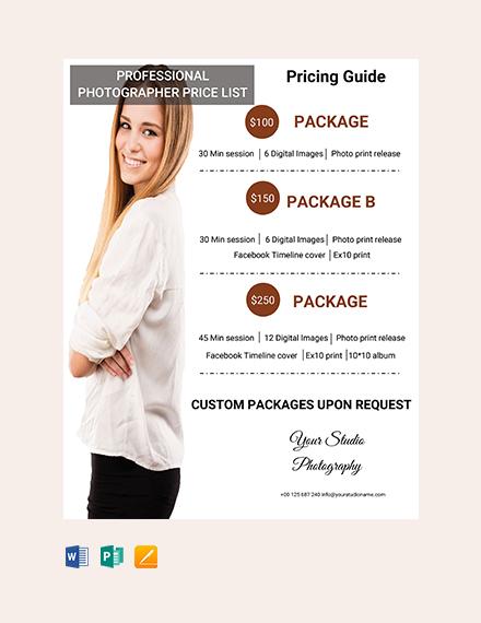 Free Professional Photographer Price List