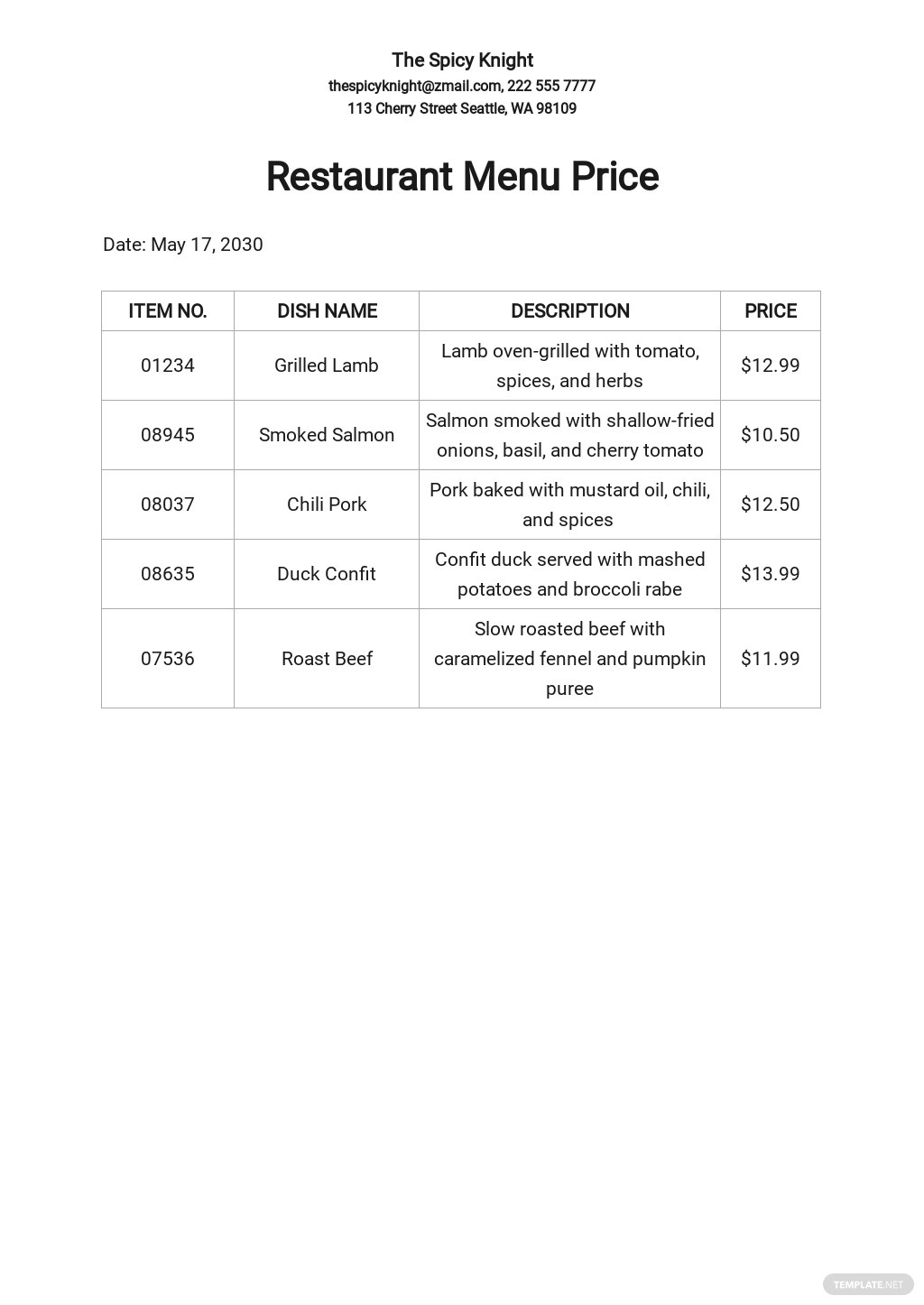 Free Restaurant Menu Price List Template.jpe