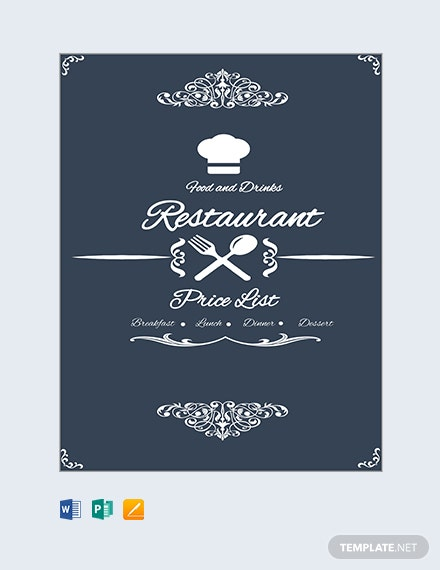 Free Restaurant Menu Price List