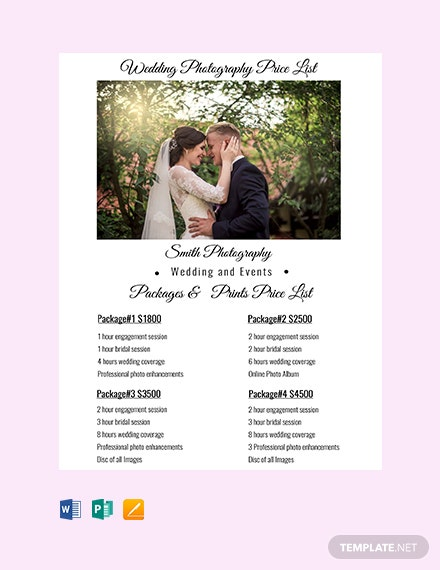 Free Wedding Photography Price List