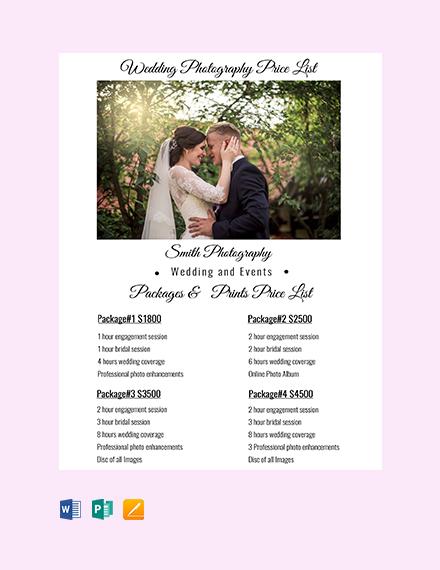 Free Wedding Photography Price List