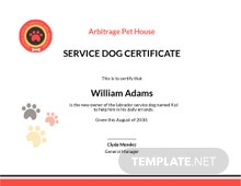 Dog Certificate Template