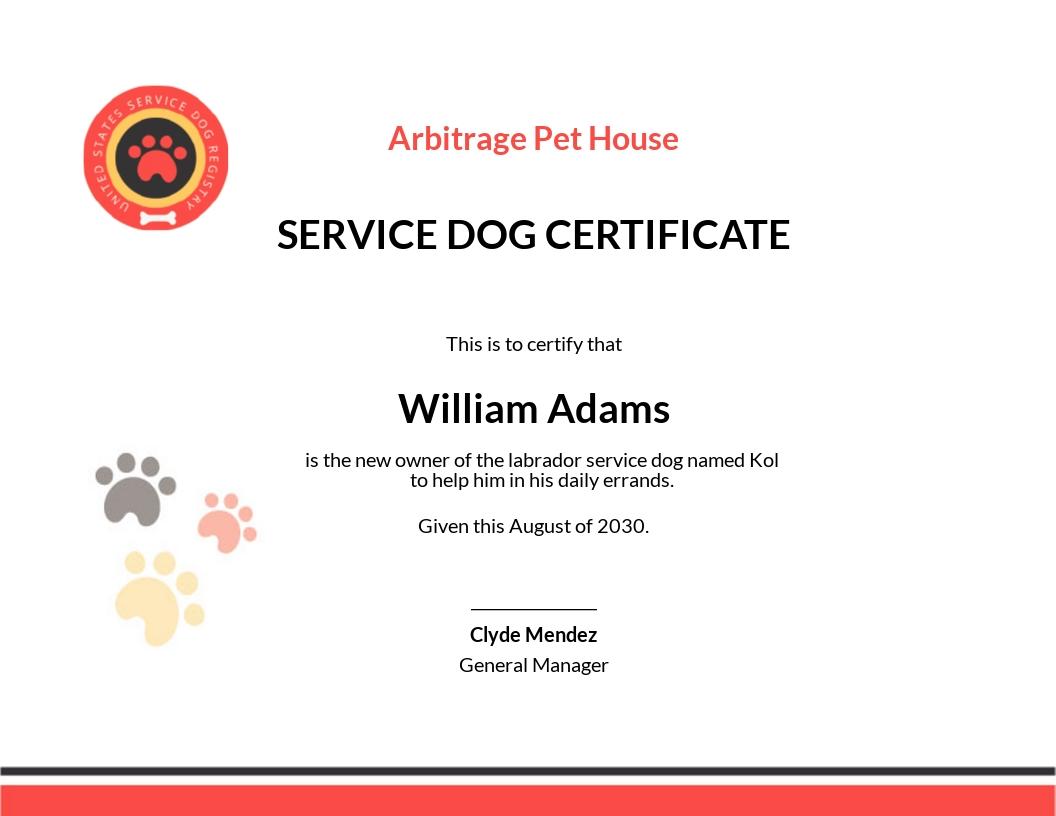 Dog Certificate Template