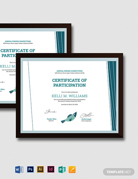 Fishing Certificate Template
