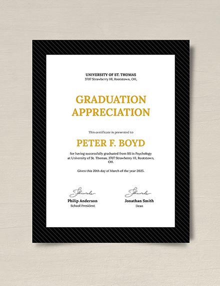 Graduation Appreciation Certificate Download