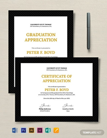Graduation Appreciation Certificate Template