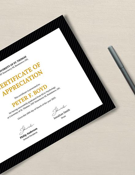 Sample Graduation Appreciation Certificate