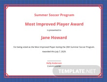 Improved Player Award Certificate Template