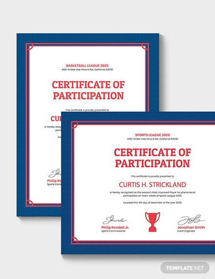 Sample Improved Player Award Certificate