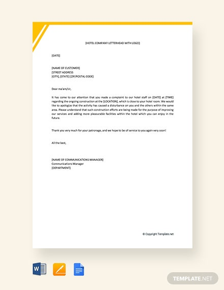 free hotel apology letter for construction template