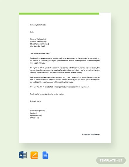 Free Credit Refusal Letter