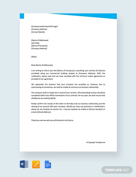 free ending a business relationship letter template