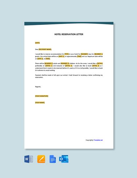 Free Hotel Reservation Letter