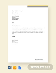 Free Resignation Acceptance Letter With Immediate Effect