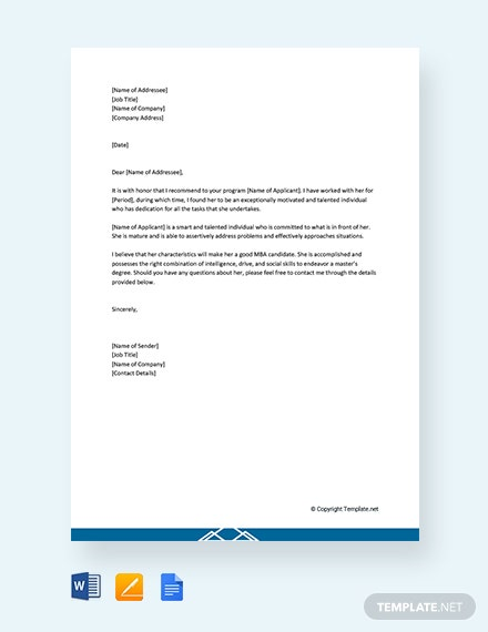 94  free recommendation letter templates