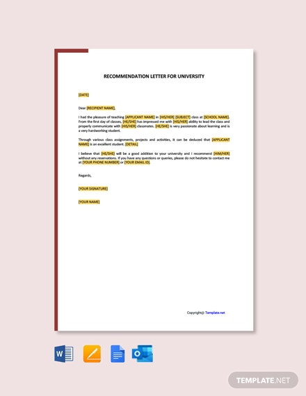 Free Self Recommendation Letter For University