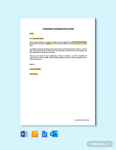Free Corporate Resignation Letter