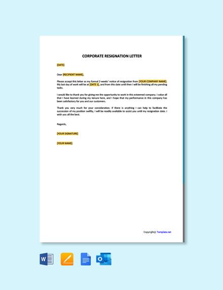 Free Corporate Resignation Letter