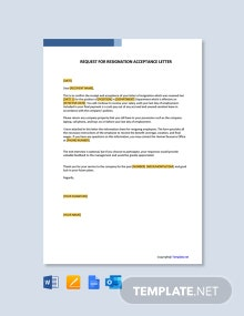 Free Request For Resignation Acceptance Letter