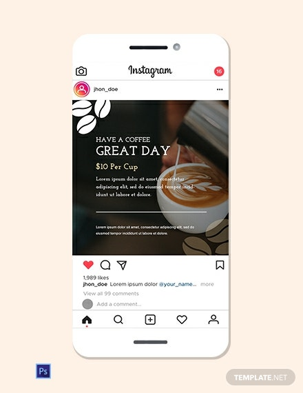 Coffee Shop Instagram Ad Template
