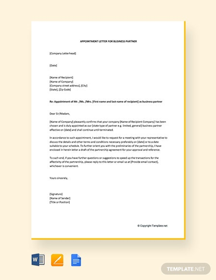 Free Appointment Letter For Business Partner