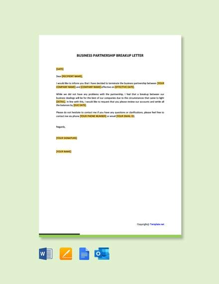Business Partnership Breakup Letter Template