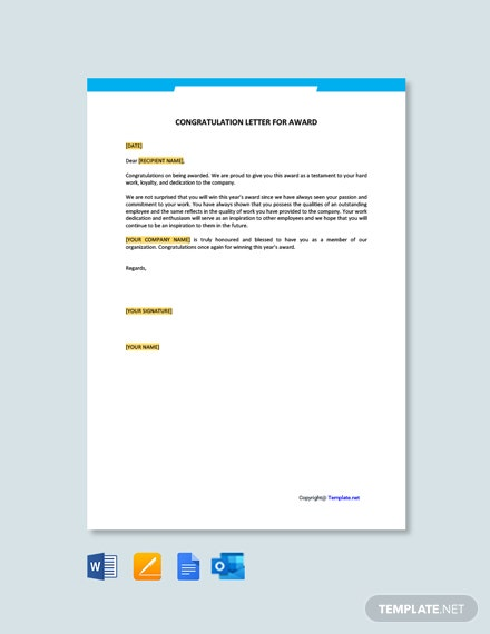Free Congratulation Letter for Award