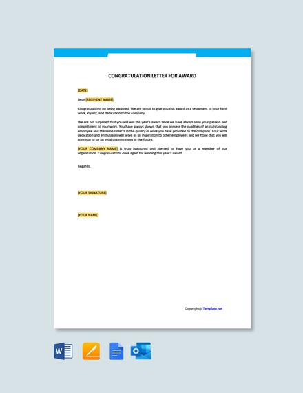 Free Congratulation Letter for Award