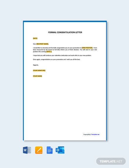 Free Formal Congratulation Letter