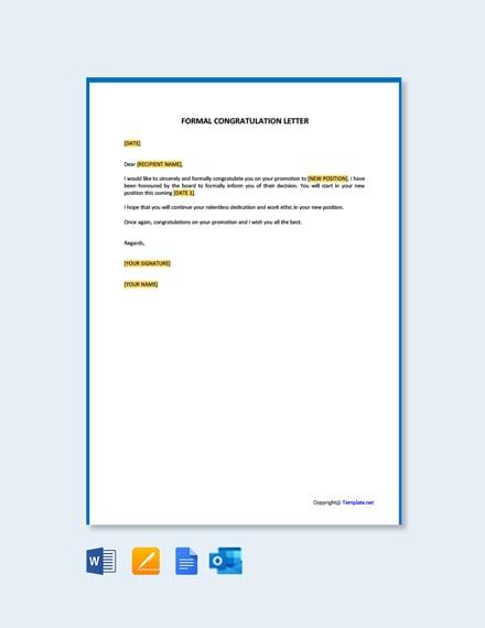 Free Formal Congratulation Letter