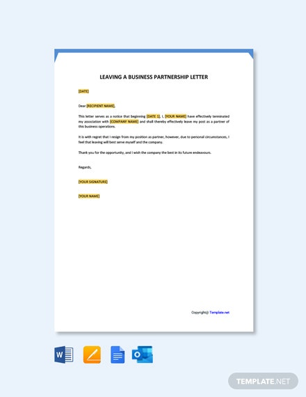 Free Leaving A Business Partnership Letter