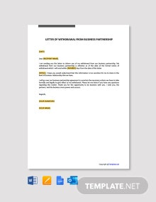 Free Letter of Withdrawal from Business Partnership