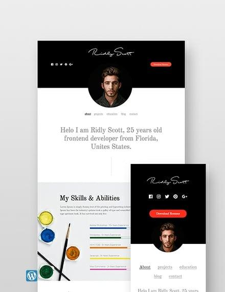Sample Resume WordPress Theme