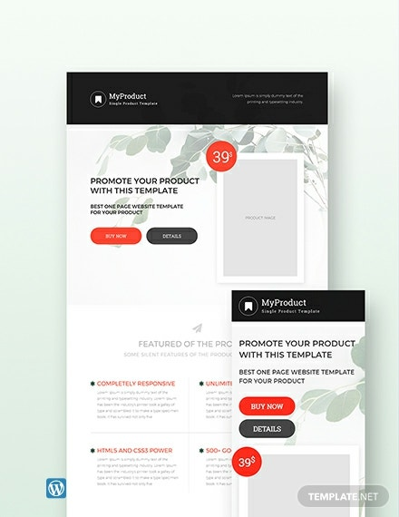 Free Single Product Wordpress Template Theme Template Net