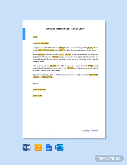Free Accountant Reference Letter for Client