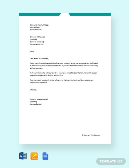 Free Financial Reference Letter From Accountant